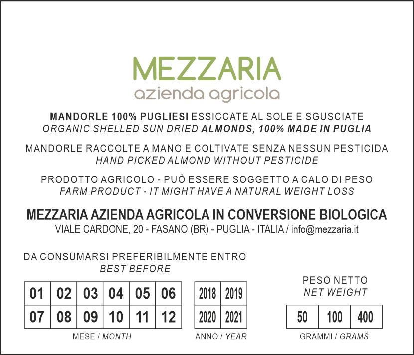 Mandorle sgusciate - retroetichetta - Mezzaria - Fasano - Puglia