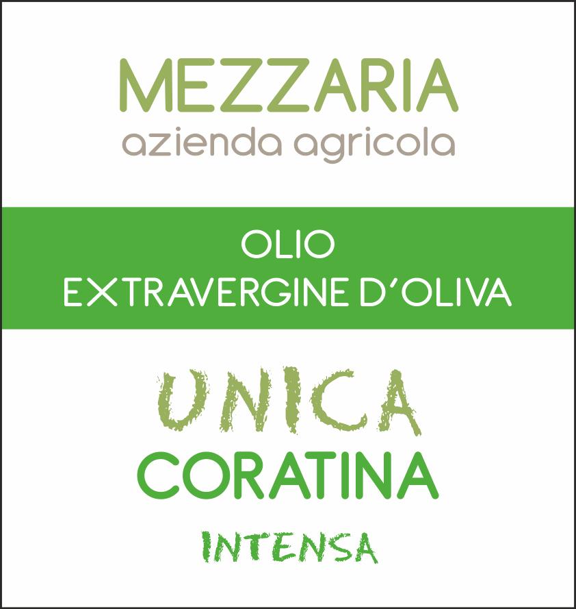 Olio Extravergine d'Oliva Coratina 0,5 L - Monocultivar - etichetta - Mezzaria - Fasano - Puglia