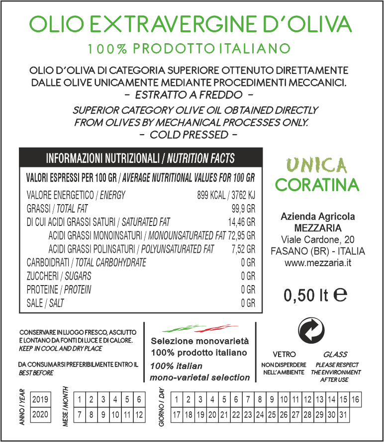 Olio Extravergine d'Oliva 0,5 L - Monocultivar Coratina - retroetichetta -Mezzaria - Fasano - Puglia
