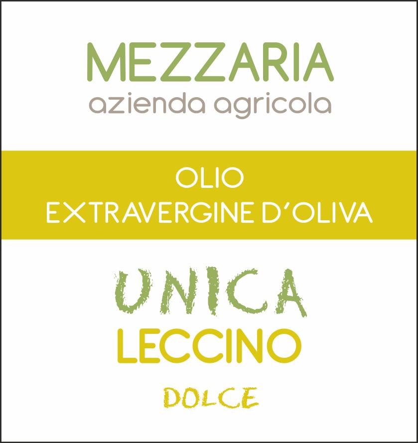 Olio Extravergine d'Oliva Leccino 0,5 L - Monocultivar - etichetta - Mezzaria - Fasano - Puglia