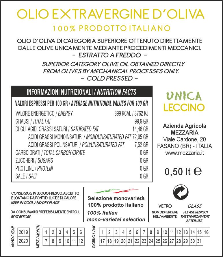 Olio Extravergine d'Oliva Leccino 0,5 L - Monocultivar - retroetichetta Mezzaria - Fasano - Puglia