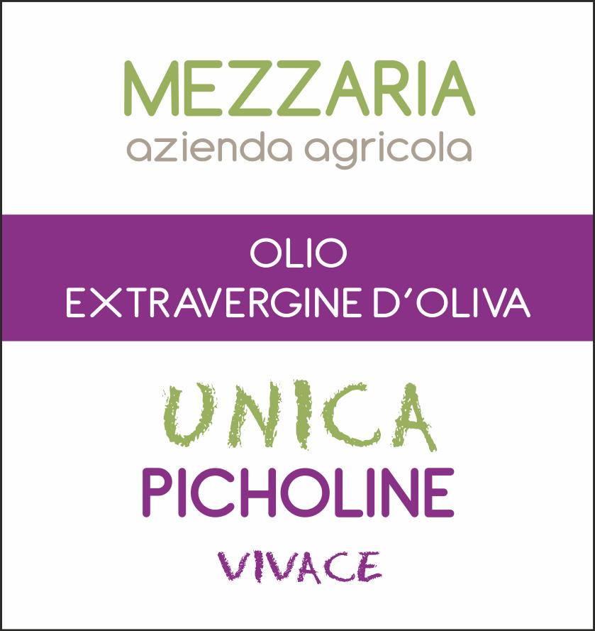 Olio Extravergine d'Oliva Picholine 0,5 L - Monocultivar - etichetta - Mezzaria - Fasano - Puglia