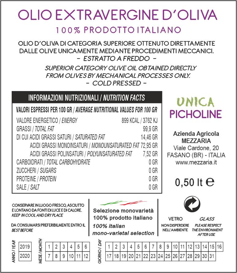 Olio Extravergine d'Oliva Picholine 0,5 L - Monocultivar - retroetichetta - Mezzaria - Fasano - Puglia