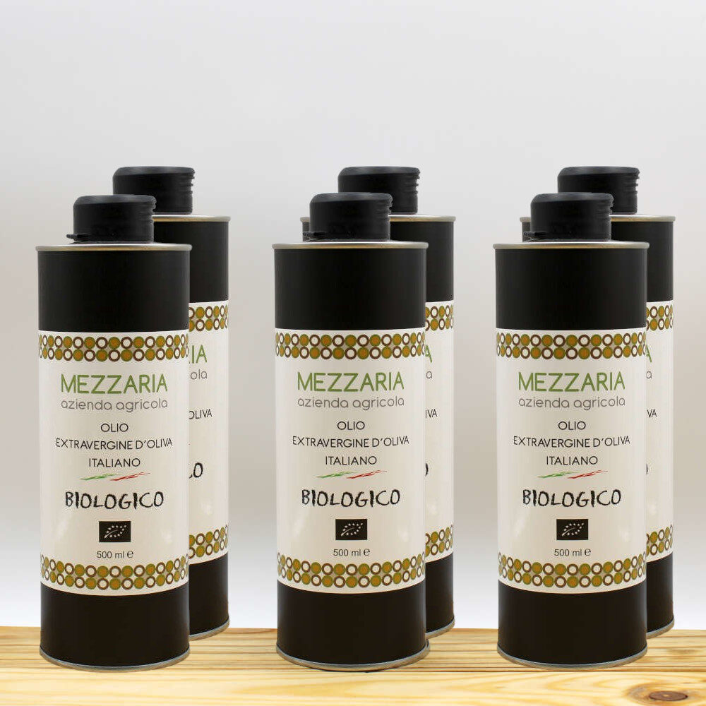Olio Extravergine d'Oliva Biologico 0,5 L 6 lattine - Blend - Mezzaria - Fasano - Puglia