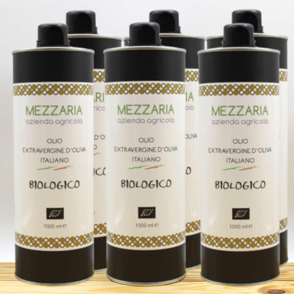 Olio Extravergine d'Oliva Biologico 1 L 6 bottiglie- Blend - Mezzaria - Fasano - Puglia